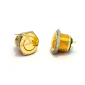16mm push button - gold - domed
