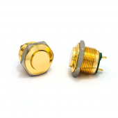 16mm push button - gold - high flat