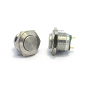 16mm push button - stainless steel - high flat